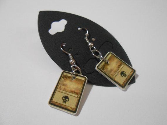 Magic the Gathering Mini Mana Earrings Black by JaeCryst