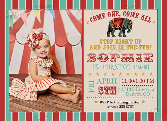 Circus Birthday Invitation, Circus Birthday Photo Invitation, Circus Birthday, Circus Invitation, Circus Party Invitation by SweetBeeDesignShoppe
