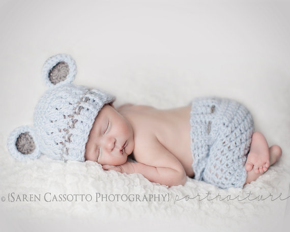 3 to 6 Hat and Shorts Outfit, Boy Set, Baby Boy Monkey Hat, Pale Denim Hat with Grey Ears. Includes Priority Mail. by ChunkyMonkeyBeanies
