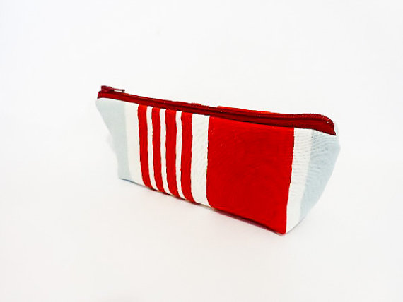 Marimekko Pouch, Small Zipper Pouch, Pouch, Fabric Pouch, Coin Purse, Cotton Zipper Pouch, Marimekko Red Stripes by handjstarcreations