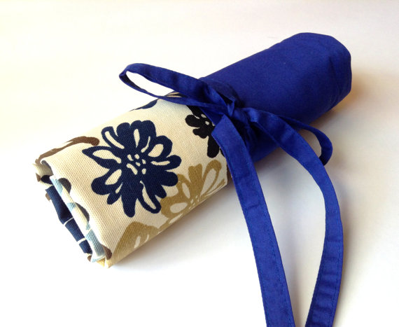 Floral Print Canvas and Blue Makeup Brush Roll by handmadefun