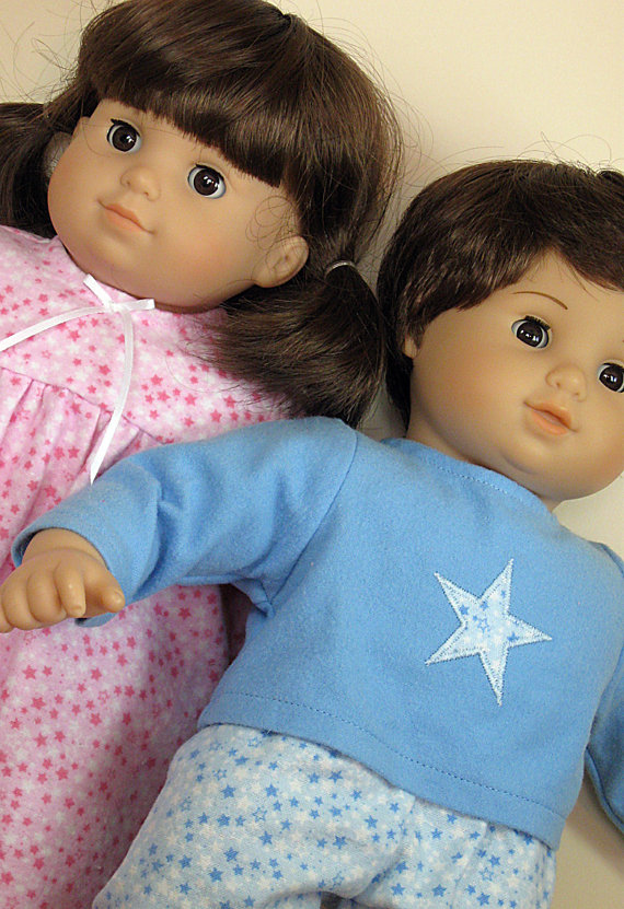 BITTY TWINS Doll Clothes – Nightgown and Pajamas – Stars by ampmcreations