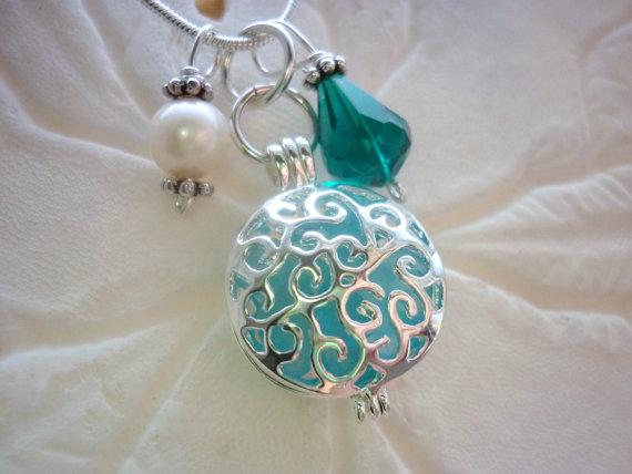 Aqua Blue Sea Glass Necklace Locket Jewelry Beach Pendant Silver by TheMysticMermaid