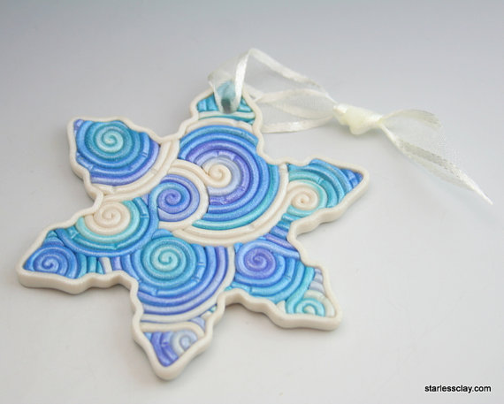 Snowflake Christmas Ornament in Pastel Turquoise Blue Fimo Filigree by StarlessClay