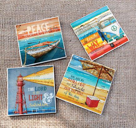 TILE DRINK COASTERS – Set of 4 – Bible verse scripture vw beach art home decor coastal summer housewarming hostess gift mothers day ceramic by dannyphillipsart