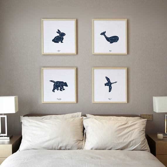 Set of 4 Constellation Art Print, Screen Printed 12×12 Night sky stars, Glows in the Dark, art collection gallery wall, ursa major by peppersprouts