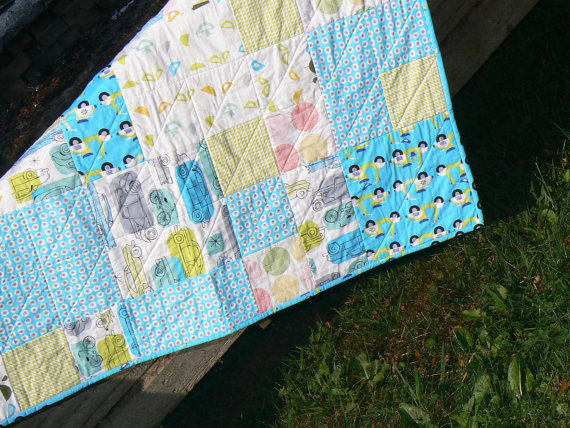Organic cotton baby quilt, lap quilt, floor play quilt, blue boy quilt by OurLegacy