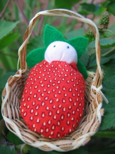 Mini Strawberry Doll in Basket by lovealittle