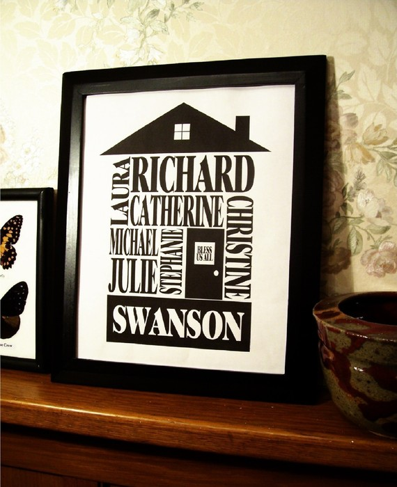 Classic Black – Personalized Family Name House Print – 8×10 by geneploss