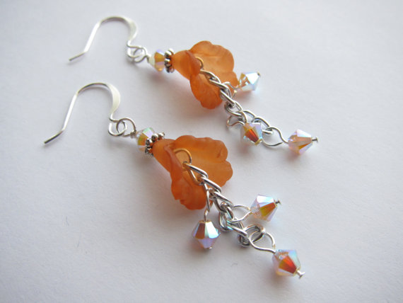 Sand Opal AB2X Swarovski Crystal Orange Lucite Lily Chain Dangle Earrings by CrownJewelsGoddess
