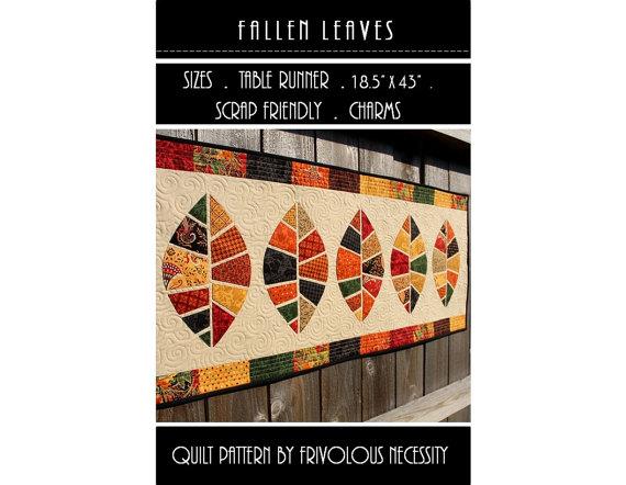 Quilt Pattern PDF Fallen Leaves Applique Table Runner – Scrap Friendly by FrivolousNecessity