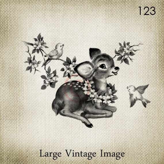 Vintage Fawn with Bluebirds LARGE Digital Vintage Image Download Sheet Transfer To Totes Pillows Tea Towels T-Shirts – 123 by ptfy