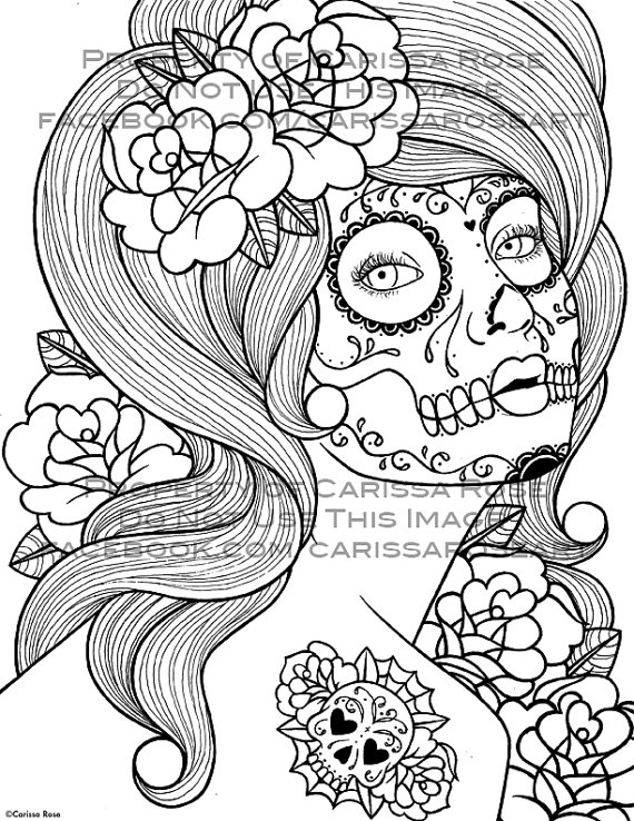 Digital Download Print Your Own Coloring Book Outline Page – Benumbed by Carissa Rose by NeverDieArt