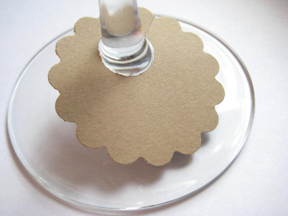100 Large Brown Wine Glass Tags, Charms, Labels, Markers by Flutters