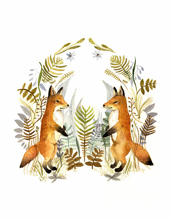 fox art, fox watercolor, Watercolor painting- reproduction- & quot; Foxes and Ferns & quot; print of watercolor painting by amberalexander