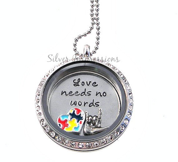 Autism Awareness Floating Locket / Charm Locket / Hand Stamped Jewelry by SilverImpressions
