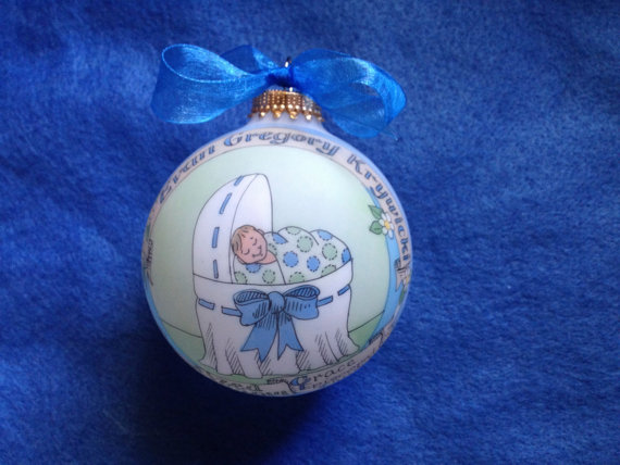 Baby Boy Baptism Ornament, Baby in the Bassinet Personalized, Handpainted, and totally Original, without Display Stand by BarbziesCustomArts