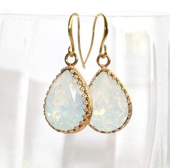 White Opal Teardrop Filigree Gold Earrings, Statement Wedding Swarovski Element dangle Earrings, Bridal Jewelry, Vintage Luxury by AngelPearls