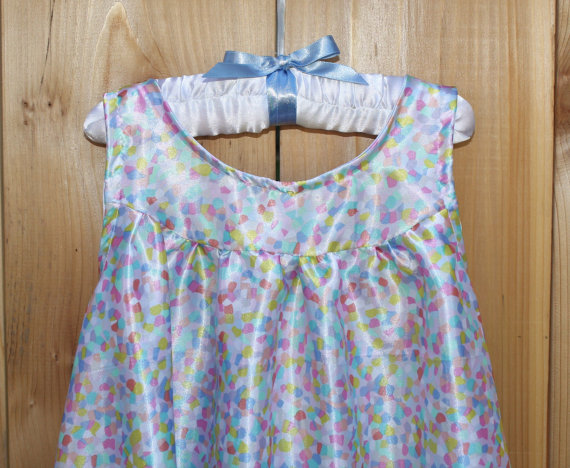 NEW FABRIC – Girls Satin Nightgown, Pastel Modern Silk Poly Print, Silky Pajamas, Toddler to Teen, Gift For Her, All Season PJ's, Nightie, Soft by HangingByAThreadKids