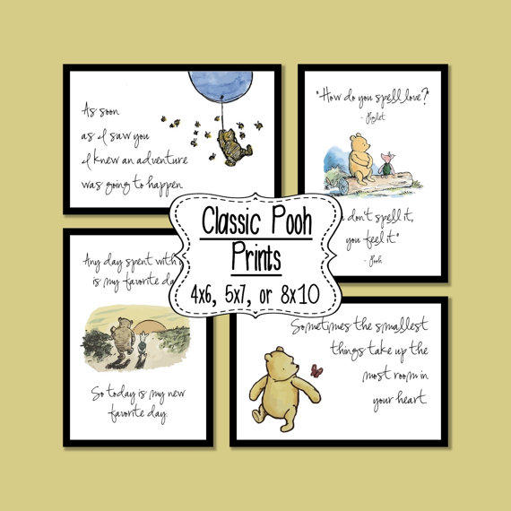 Set of 4 Classic Winnie the Pooh Quotes – 4×6, 5×7, or 8×10 prints by SaturdayDesigns