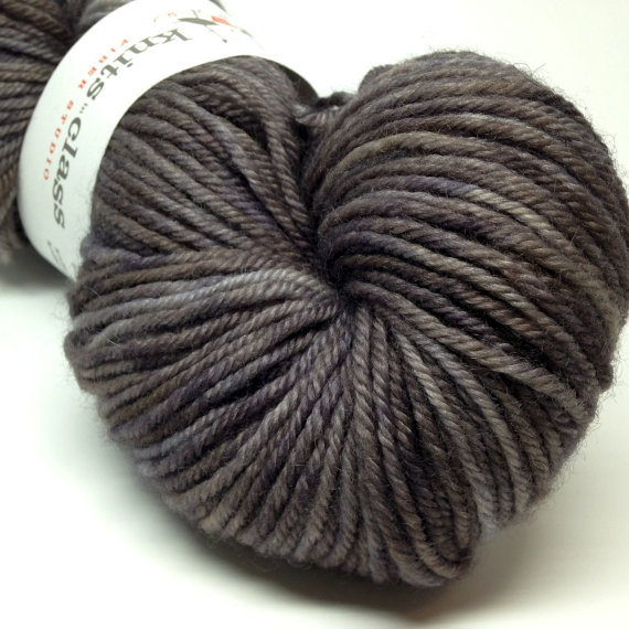 Grey BFL DK weight hand dyed yarn, Stormy Skies, Made to Order by knitsinclass