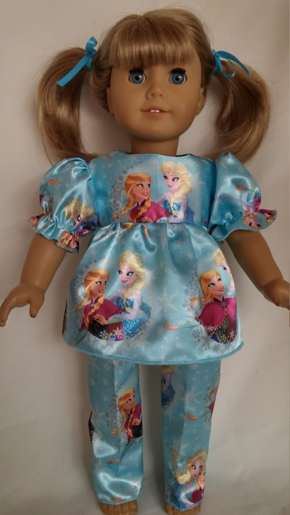 18 inch doll clothes – Blue Princess Pajamas made to fit the American Girl Doll by susiestitchit