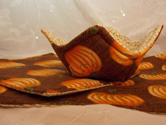 Autumn Table Mat Set-Pumpkin Table Runner-Autumn Pot Holder-Pumpkin Hot Pad-Pumpkin Fabric Bowl-Hostess Gift Set-3 Piece Set by auntyanndesigns