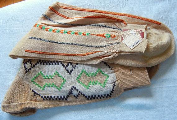 2 Pair Vintage Mens Socks Patterned 1950s Tan NOS unused Rockabilly Efanee by handmedown