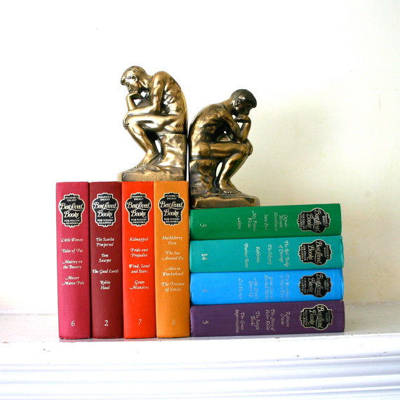 Vintage Bronze Thinker Bookends by opendoorstudio