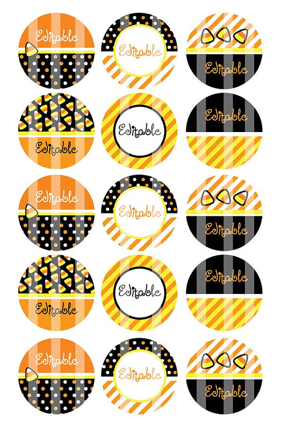 Editable 4×6 JPEG – Candy Corn Halloween – 1 inch Round Digital images for bottle cap pendants, cupcake toppers, magnets, etc. – Download by creationsbym