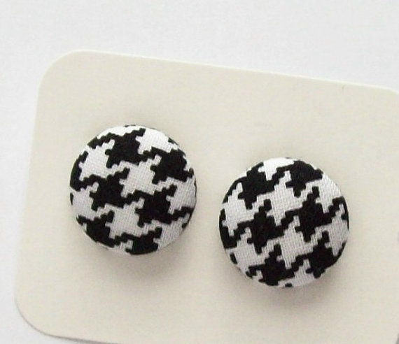 Fabric button earrings black and white houndstooth design post earrings by gillionmillion