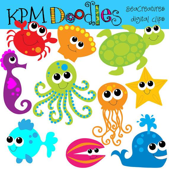 KPM Bright Sea Creatures digital clip art by kpmdoodles