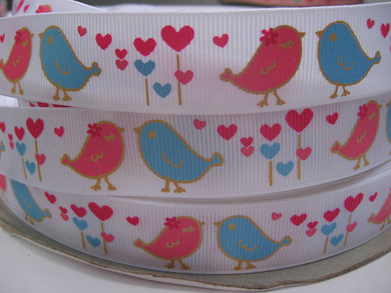 7/8 LOVE BIRDS Pink and Blue on WHITE Grosgrain Printed Ribbon By the yard 5 Yards Making Hair Bow Hair Clips Scrapbook Supplies by ribbonsuppliesohmy