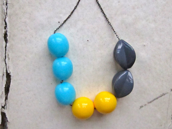 bead necklace, vintage lucite beads. summer storm by whoop
