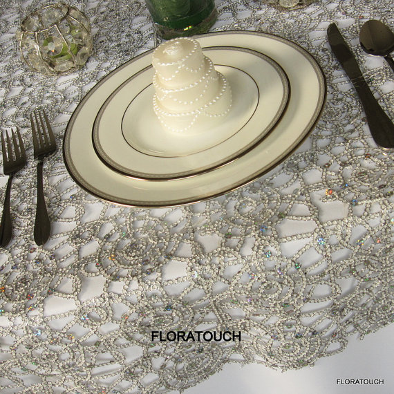Silver Alice Metallic Lace Table Overlay Wedding Table Overlay by floratouch