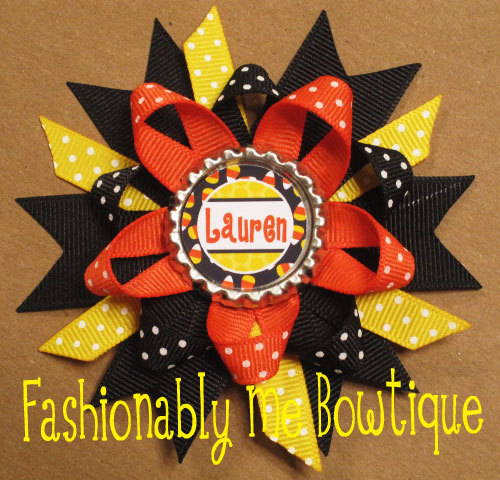 Personalized Candy Corn Halloween Boutique Stacked Bottlecap Bow by FashionablyMeBows