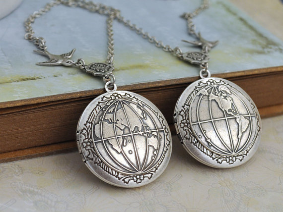 silver locket necklace set of 2 -YOU COMPLETE My WORLD – antiqued silver globe locket necklace set by plasticouture