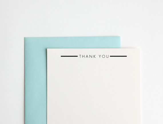 Thank You Rubber Stamp, Ultra Minimal Modern Design (Wood Mounted) with optional wooden handle (S109) Perfect Stocking Stuffer, Holiday Gift by HunterandCoDesigns