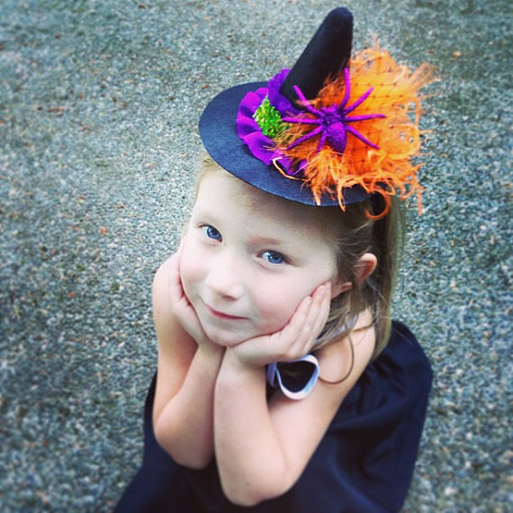 mini witch hat, witch headband, halloween flower headband, orange purple black headband, photo prop, feather headband, baby headband, glitter by lexicouture