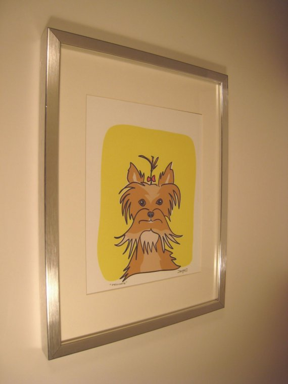 Framed and Signed Yorkshire Terrier Print called Delicate in the Dog Series by studio1212