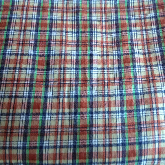 Printed Plaid Fabric – 3 Yards – Remnant by TheTinThimble