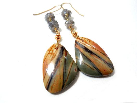Butterfly Wings Gemstone Dangle Earrings, Gold Filled, Rustic Natural, Red Creek Jasper, Labradorite by ChelseaGirlDesigns