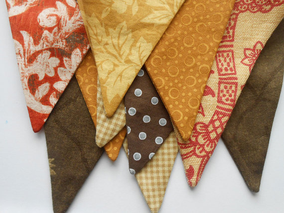 Thanksgiving Banner / Fall Buntingr / Autumn Photo Prop in Gold, Brown and Red by aLittleFrayed