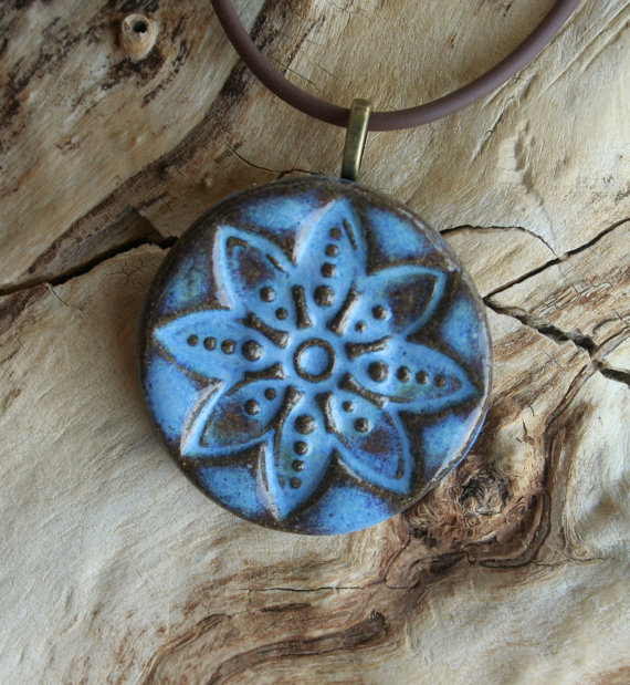 Castille Blue Mandala Stoneware Pendant by muddyfingers