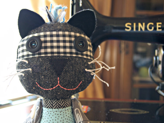 Eliza – Cat – Art Doll – Patchwork – Thrifted Materials – One of a Kind by friedokra