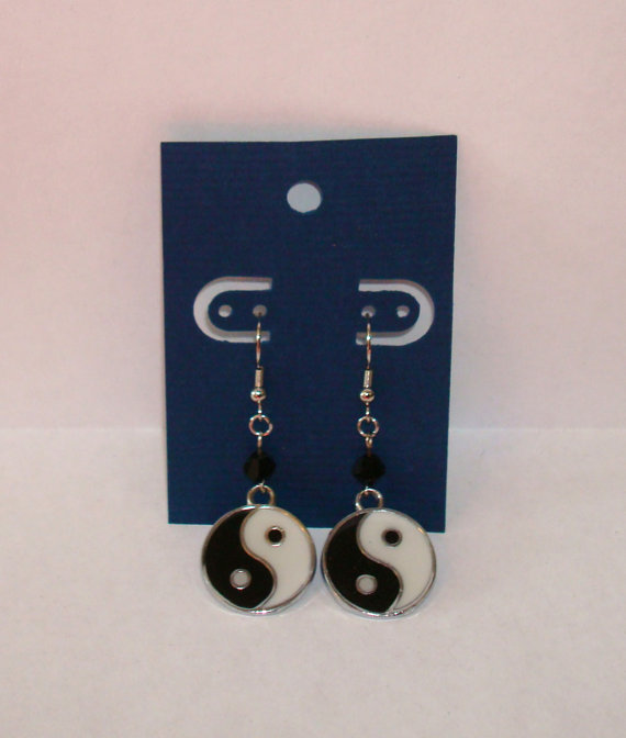 "Japanese Symbol Silvertone Charm w/ Black Crystal 3/4"" Dia. x 1-1/2"" L. Earrings by AmberLiteTreasures"