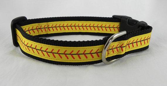 Softball Stitches Dog Collar by RogueCollars