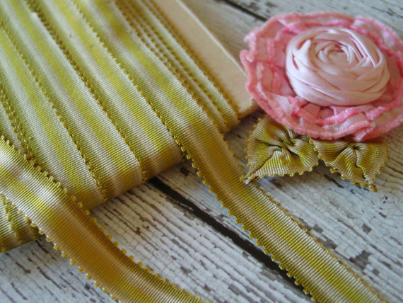 ANTIQUE early 1920s SILK OMBRE green picot RiBBoN for ribbonwork, one yard with more available by VintageTidbit