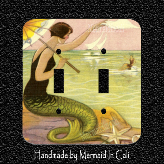 1920s Brunette Mermaid waving to Man in Boat Double Light Switch Plate Covers – Toggle/Rocker/Outlet/Combos by Mermaidincali