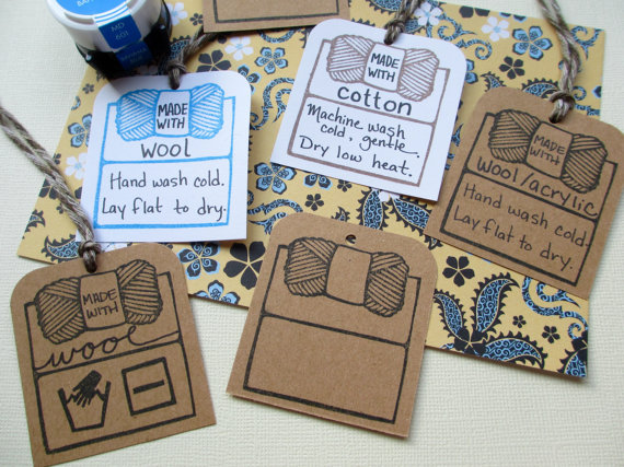 Yarn Care Tag Outline – Hand Carved Rubber Stamp by hoffeeandanuffin
